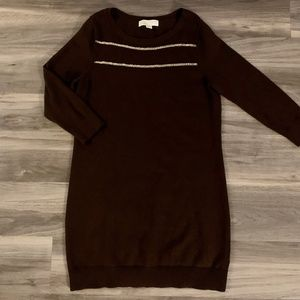 Michael Kors Brown & Gold Sweater Dress, Size Med